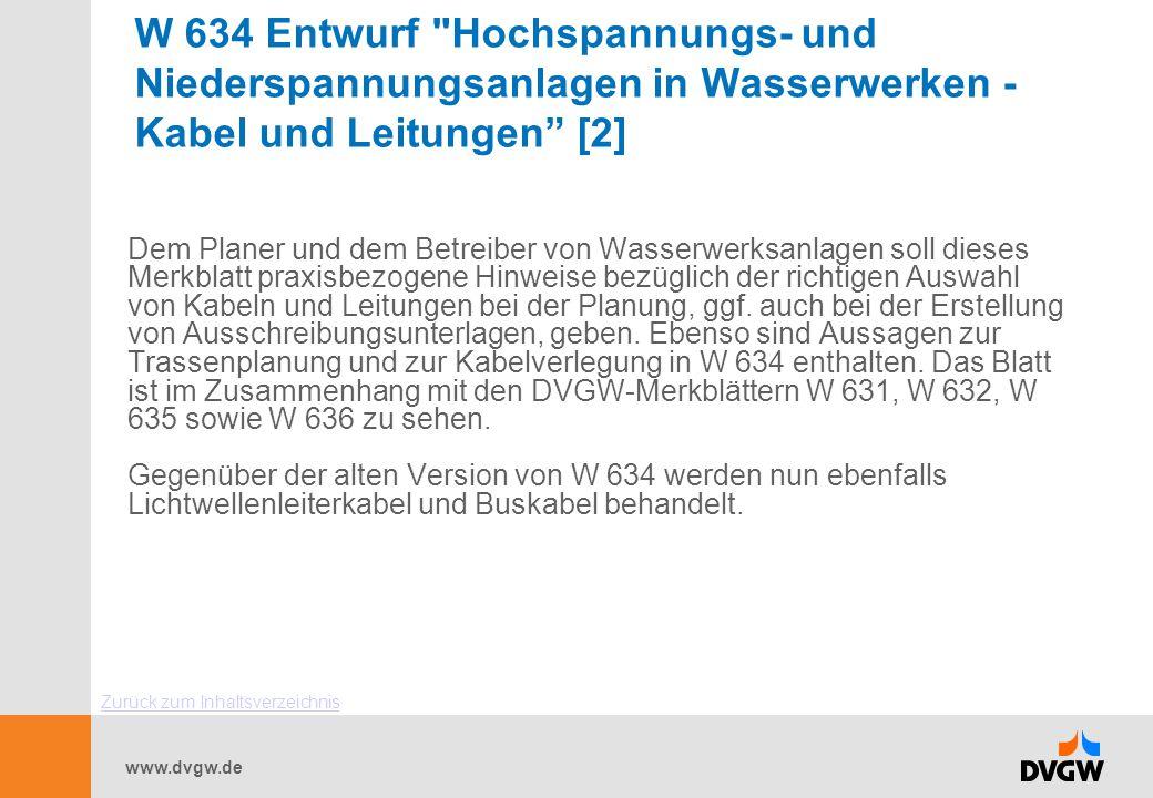 W 634 Entwurf Hochspannungs- und Niederspannungsanlagen in Wasserwerken - Kabel und Leitungen [2]